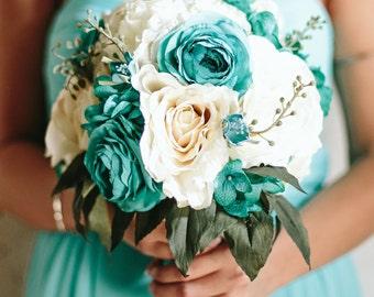 Wedding Bouquet, Silk Flower Bouquet, Custom Bouquet, Bridal Bouquet, Wedding Flowers