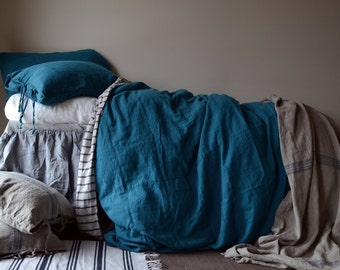 Dark Teal Rustic Heavy weight duvet cover linen duvet cover. Stonewashed Rustic Rough Linen. Hand dyed linen