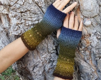 Fingerless Knit Gloves Womens Arm Warmers Warm Vegan Mittens Winter Wrist Warmers Boho Woodland Blue Green Knitted Gloves Gift for Her