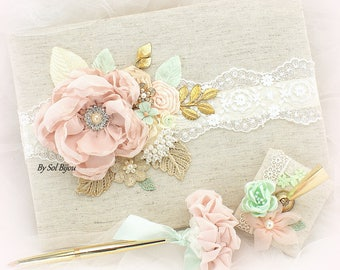 Blush Mint Gold Wedding Guest Book,Linen Lace Guest Book, Personalized Shabby Chic Guestbook,Gold Wedding Pen,Custom Order