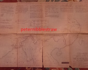 WWII 1945 Map Gasoline Piplines INDIA-BURMA-China Theatres District 12 Kingsolving, Engineer