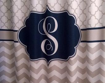 Shower Curtain Chevron Fabric Quatrefoil Lattice You Choose Colors 70, 74, 78, 84, 96 Monogrammed Shown Navy and Beige