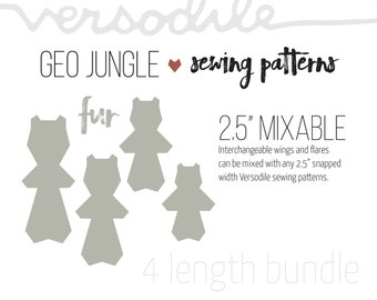 "GEO Fur | Cloth Pad Pattern | 4 lengths bundle | 2.5"" Snapped Width"