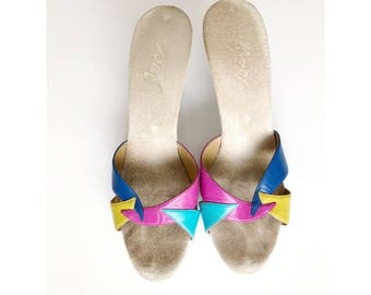 Vintage Onex Multicolored Leather and Suede Heels Pumps