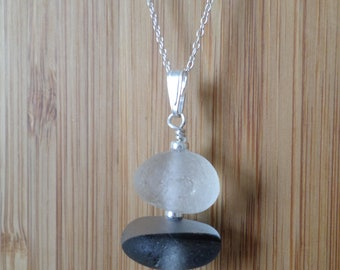 Stacked Sterling Silver Sea Glass Necklace, Seaglass Necklace Pendant, Beach Glass, Beach Jewelry, Seaham, Beach Glass, Stack, Multi
