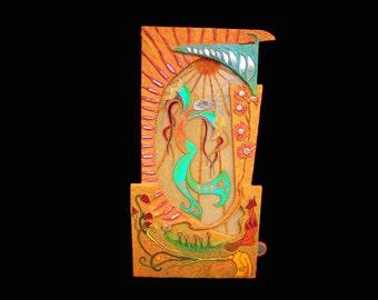 "Les fées Wall sculpture 22.46""X24.03""x1.38"". Mixed media. Subject fairies. Acrylic on polycarbonate, nacre, fiber art, jewelery, mirror."