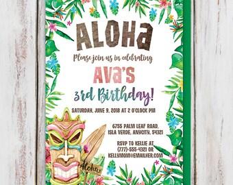 Aloha Tiki Tropical Birthday Party Invitation, Luau Birthday Invitation, Hawaiian Birthday Invitation, Beach Party Digital Printable Invite