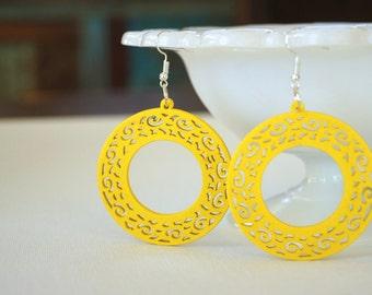 laser cut earrings, wooden earrings, yellow earrings, hoop earrings, lightweight earrings, sunshine yellow, summer earrings, popular earring
