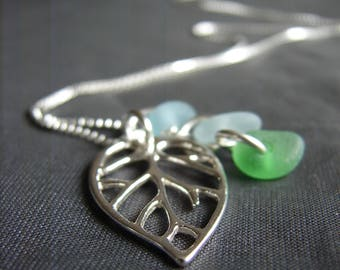 Sea Glass Necklace  /  Beach Glass Necklace  /  Genuine Sea Glass Jewelry  / seaglass jewellery /  Leaf necklace/  sterling silver