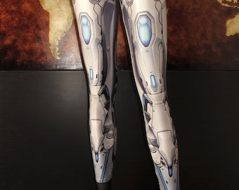 TAFI Machina Armor Leggings - Sci-Fi Robot Cyber Armour Costume Yoga Pants Black Milk Galaxy CosPlay Print