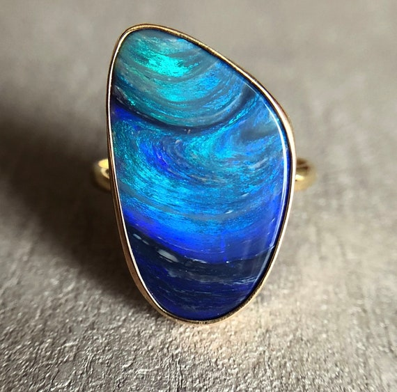 Reserved for eve.meets.world 14K yellow gold ring with Australian Black opal SZ 7.25