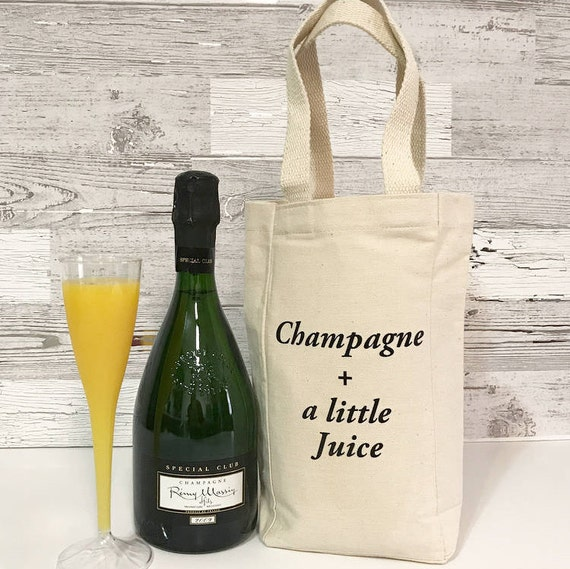 Champagne And A Little Juice - Brunch Double Bottle Wine Tote Bag