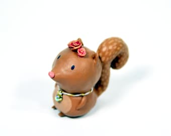 Springtime Squirrel Figurine - One of a Kind Art Sculpture