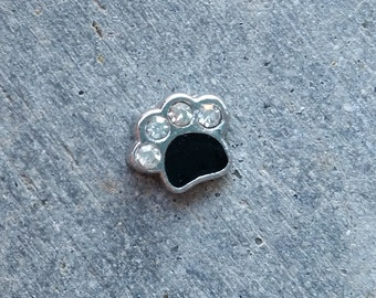 Floating Charm For Glass Memory Lockets- Black Paw Print
