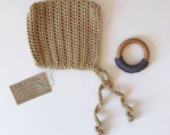 The Augie Bonnet // Chestnut Latte // Size 3-6 Months // Ready to Ship
