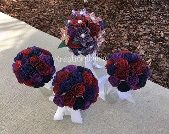 PAPER FLOWER BOUQUET / Bridal Bouquet / Paper Bouquet/ Origami Flowers / Bridesmaid Bouquet / Paper Flowers / Paper Rosettes