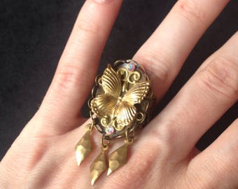 Ring adjustable gold Butterfly lace