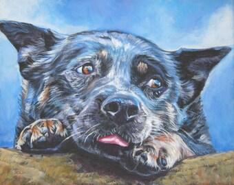 AUSTRALIAN CATTLE DOG portrait art Blue Heeler canvas print of LAShepard painting