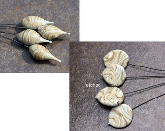 Wooden - Handmade Lampwork Glass HeadPins, Choose shape and finish - SRA Elasia MTO