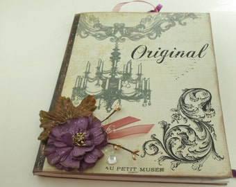 French Inspired Journal, Altered Notebook, Memory Book, Diary, Journal, Scrapbook, Special Notebook