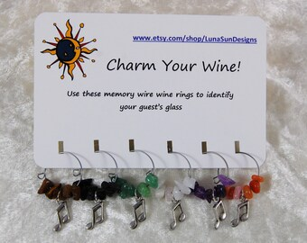 Wine Rings - Set of 6. Choose from Music Notes or Musical Instruments