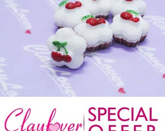 Flower Shaped Cupcake with 2 Cherry Cabochon  - (PJ-083)