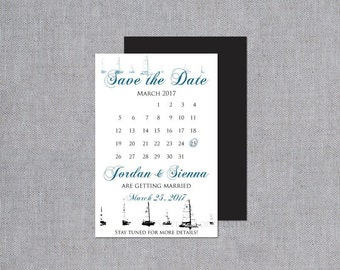 Save the Date Card - Sailboat Save the Date - Nautical Save the Date Magnet - Custom Save the Date Calendar - Sailboat Wedding Save the Date