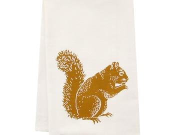 squirrel tea towel ORGANIC