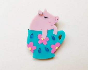 Camellia the Teacup Pig Laser Cut Acrylic Brooch