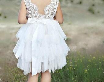White flower girl dress,White lace dress,White tutu dress,Toddler lace dress, flower girl lace dresses, rustic flower girl dress,Birthday