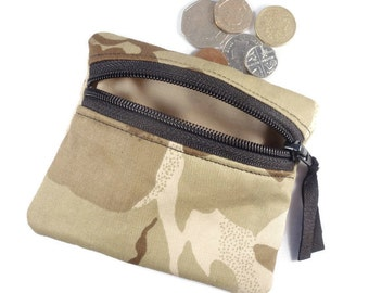 Camouflage beige sand  coin purse,  change purse, zipped pouch camo