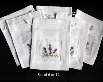 drawstring bag pouch set of 6 sheer window lavender flower embroidered
