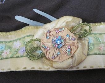 Handmade Fabric Cuff - Golden Garden silk bracelet with beads and vintage rhinestone brooch