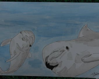"""""""Dolphins"""" animal drawing, ink China and signed ink wash G.Vanspey"""