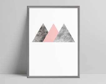 Geometric triangles pastel pink textured print home decor minimalist abstract, office decor, scandi wall art