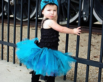 Turquoise Explosion Tutu and Beanie Set Turquoise, Black, Smoke Blue Double Layer Princess Fairy Party Skirt Photo Prop