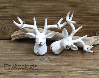 SET OF 2 - White Stag Antler Deer Head Metal Knob - Antler Drawer Pull Nature Buck Doe Forest Theme - Hunter Mancave Nursery