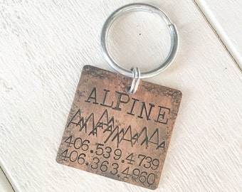 Our dog tags make a unique personalized gift. Each pet id tag is crafted in our Bozeman, Montana studio by dog lovers. Alpine Pet Tag