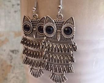 Owl Earrings, Statement Earrings, Dancing Owls, FREE SHIPPING
