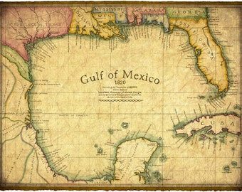 "Gulf of Mexico Map Art c. 1820 14"" x 19"" - Florida - Gulf of Mexico - Old Maps and Prints - Nautical Maps - Texas - Cuba - Yucatan - Mexico"