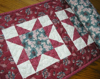 Quilted Table Runner, Stars in Cranberry and Teal,  13 x 39 1/2 inches