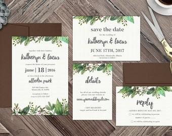 Floral Watercolor Wedding Invitation, Elegant Wedding Invitation, Water Color Wedding Invite, Modern Wedding Invitation