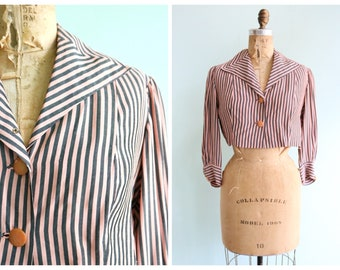 Vintage 1930's Pink and Grey Striped Cropped Blouse | Size Small