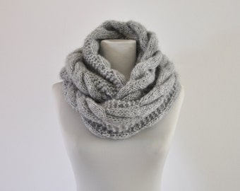 Gray Chunky Infinity Scarf Cowl Neckwarmer Loop Scarf Circle Scarf Knit Fashion Accessories