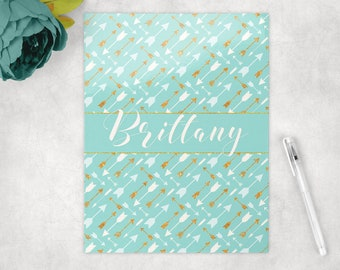 Personalized folder in boho chic feather arrows, pocket folder, school folder, personalized school supplies, back to school