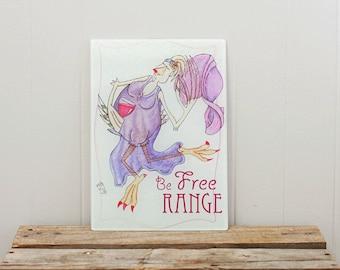 Glass Cutting Board Free Range Chicken Dancing Hen Life Joy Celebrate Inspire Radiant Orchid 8x11