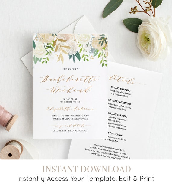 Bachelorette Invitation & Itinerary, Printable Bachelorette Party Invite, Editable Template, INSTANT DOWNLOAD, Boho Greenery #021-113BP