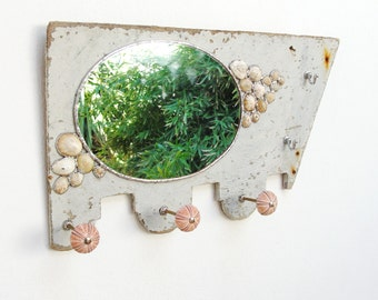 Sea Mirror and Jewelry Storage Rack Holder, Driftwood Mirror Soldered Limpet Shells, Metal, Driftwood, Sea Urchins and Mirror