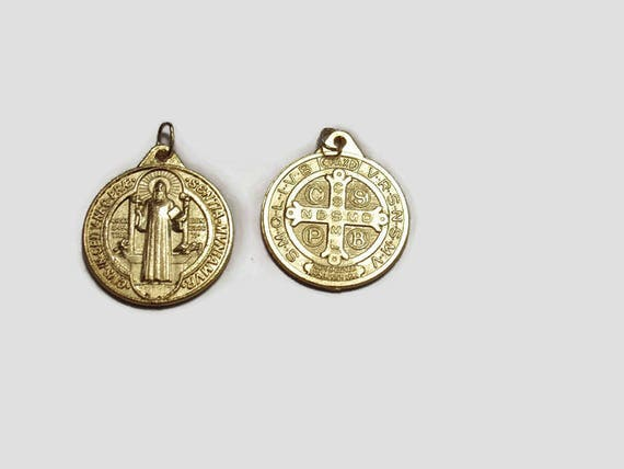 Small Saint Benedict Medal or Pendant, Gold plated,  24 inch gold plated oval link necklace OR Stainless steel Gold necklace
