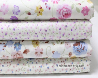 Purple Blue Rose Flower Cotton Fabric, Tiny Small Floral, Quilting Clothing Fabric - 1/2 Yard